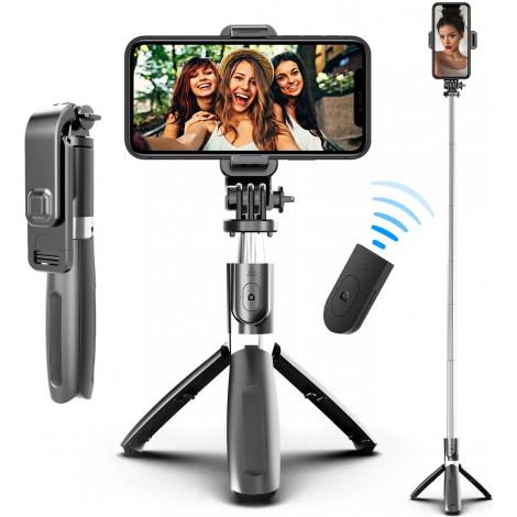 Монопод для селфи для телефонов и экшн камер NOVELEKA, встроенный штатив трипод с держателем и Bluetooth пультом для телефона 5в1, от 19 до 100 см